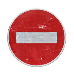Old red stop road sign