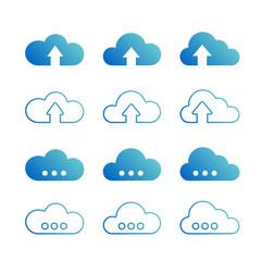 Cloud database icons set. Vector illustration