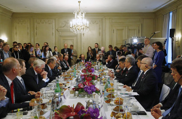 General view of a meeting with Russian Foreign Minister Lavrov and German Foreign Minister Gabriel at the Munich Security Conference in Munich