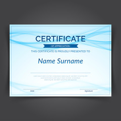 Blue abstract swoosh futuristic lines certificate layout design template