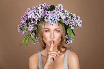 beautiful girl with flower wreath on head