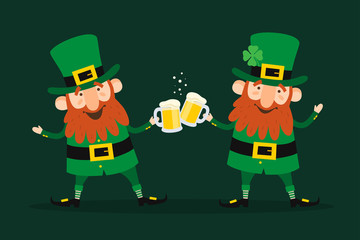 Saint Patrick's Day. Set of two funny Leprechauns with beer pints on green background.