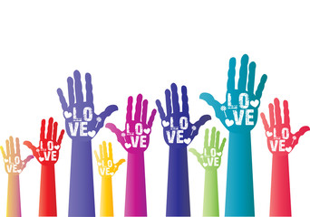 colorful hands with hearts and word of love  - free space