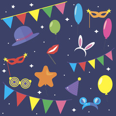 Carnaval background. Carnaval party elements. Colorful carnaval illustration