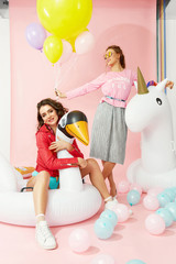 Fashion Women Models In Summer Clothes With Balloons