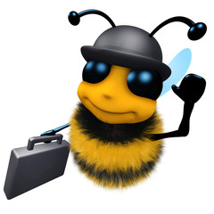 3d Funny cartoon honey bee wearing a bowler hat and carrying a briefcase