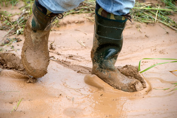 Tourists in rubber boots is on dirt