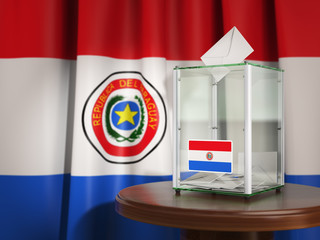 Ballot box with flag of Paraguay and voting papers. Paraguayan presidential or parliamentary election.