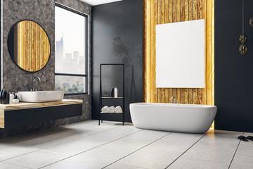 Dark bathroom with blank banner