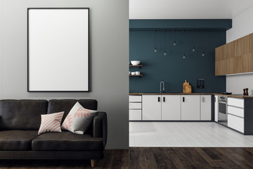 Contemporary studio interior with blank poster