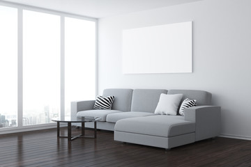 Modern living room with empty poster