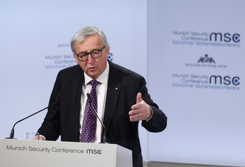 European Commission President Juncker talks at the Munich Security Conference in Munich