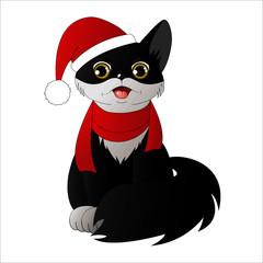 Black cartoon cat in a santa claus hat, vector illustration