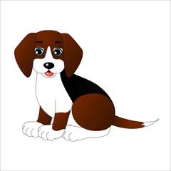 Cute cartoon dog, vector illustration