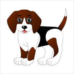 Cute cartoon dog, vector illustration