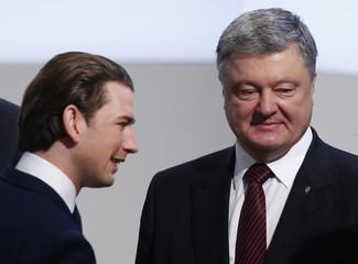 Austria's Chancellor Kurz meets Ukraine's President Poroshenko at the Munich Security Conference in Munich