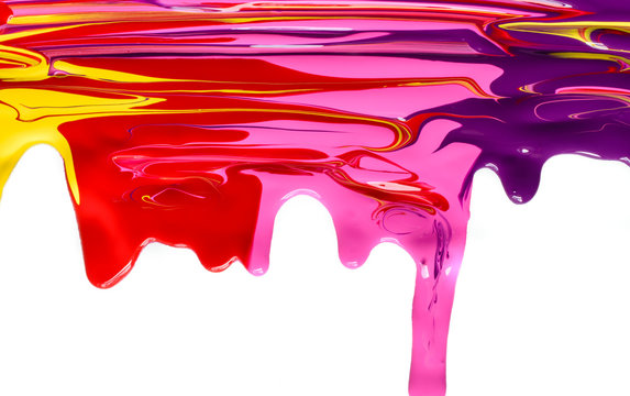 Isolated bright colorful mixed acrylic dripping paint