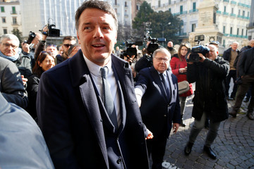 PD party leader Matteo Renzi arrives to attend a political rally in Naples
