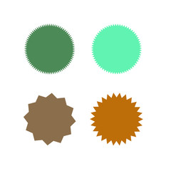 Set of icons badges starburst, sunburst, label, sticker. Different types and colors Design elements. Vector illustration