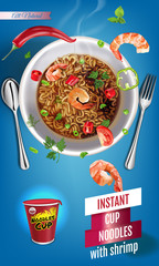 Vector realistic illustration of instant cup noodles with shrimps.