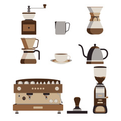 Coffee Machine and Barista Tool Isolated Vector