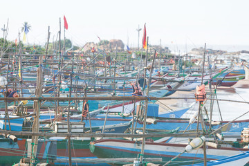 Sri Lanka, Dodanduwa - Several boats at the beach of Dodanduwa