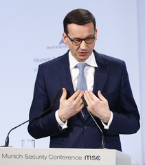Poland's Prime Minister Morawiecki talks at the Munich Security Conference in Munich