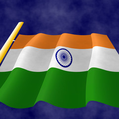 Indian flag on the flagpole, view up