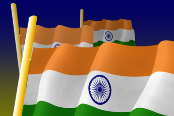Indian flags on the flagpoles