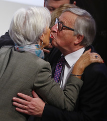 Lagarde, Managing Director of the IMF, meets European Commission President Juncker at the Munich Security Conference in Munich