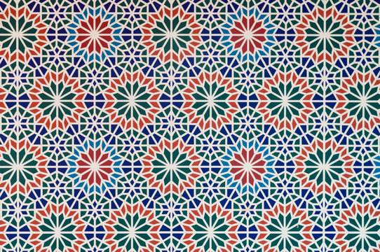 arabic style pattern multi color pieces form white lines