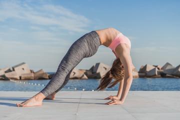 Sporty woman in bridge position
