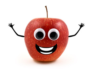Funny apple stock images. Cheerful apple character. Red apple on white background. Laughing apple cartoon icon