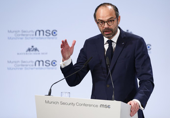 French Prime Minister Philippe talks at the Munich Security Conference in Munich