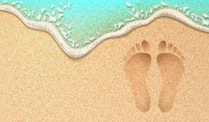 Vector realistic human footprint on sea beach sand