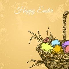 Beautiful background with basket of eggs. Vintage card. Engraving style. Vector illustration.