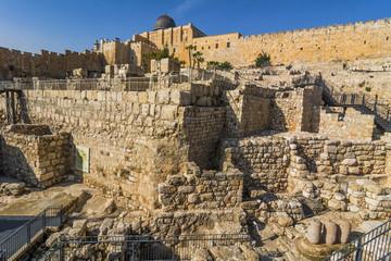 City of David, Jerusalem, Israel. Archeological site of ancient ruins - travel destination