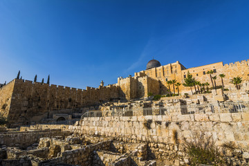 City of David, Jerusalem, Israel. Archeological site of ancient ruins - popular travel place