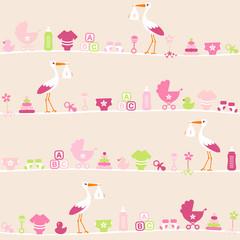 Seamless Pattern Baby Symbols Girl Stork