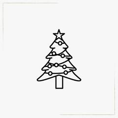 christmas tree line icon