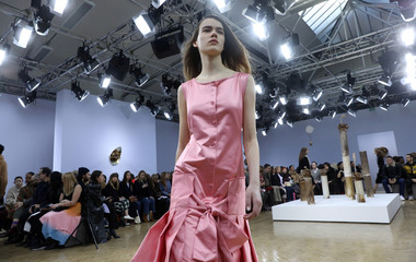 A model displays a creation during the J W Anderson show at London Fashion Week