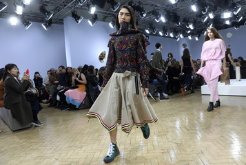 A model displays a creation during the JW Anderson show at London Fashion Week