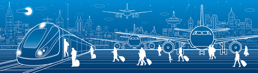 Transport panorama. Passengers get on the train leaving the airplane. Travel transportation infrastructure. Plane is on the runway. Night city on background, vector design art