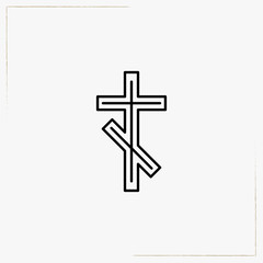 christian crest line icon