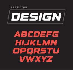 Italic bold geometric alphabet design. Sport game vector font template.
