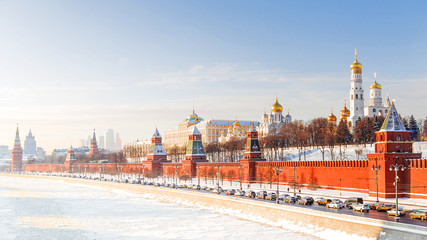 Tuinposter Moskou winter panorama of the Moscow Kremlin, Russia
