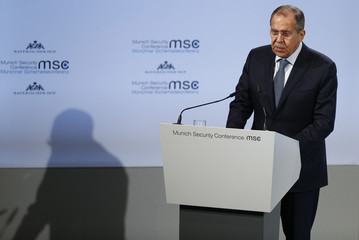 Russian Foreign Minister Lavrov talks at the Munich Security Conference in Munich