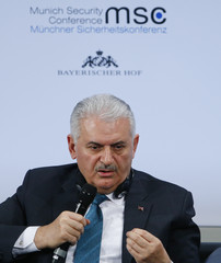 Turkish Prime Minister Yildirim talks at the Munich Security Conference in Munich