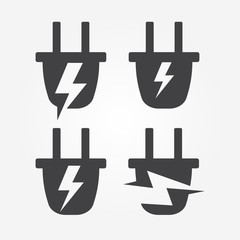 Plug into socket with lightning, energy logo element, abstract stylized silhouette vector icon set. Electrical wiring symbol.