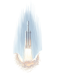Heavy Rocket Flying above the clouds illustration. Vector.